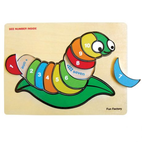 Wooden Number Silkworm Puzzle