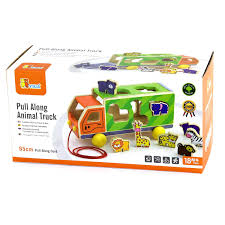 pull along animal truck – boxed