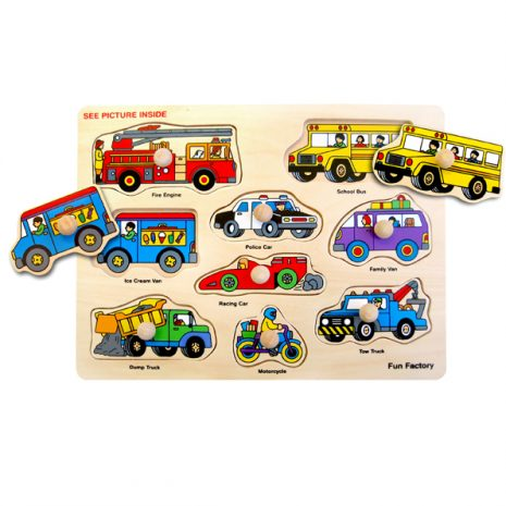 Vehicles Wooden Knob Puzzle