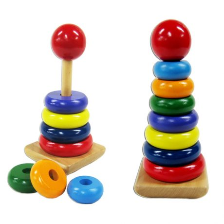 wooden stacking rings tower