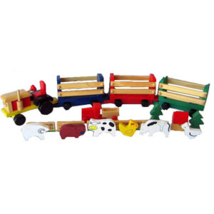 wooden toy farm tractor with animals
