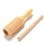Natural Wooden Ribbed Tube Sound Instrument