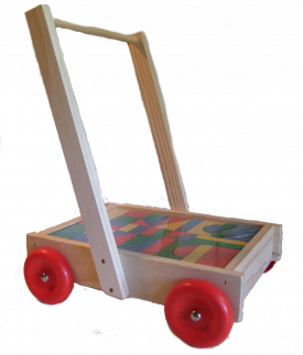 Wooden Walker Wagon with blocks - NZ Made