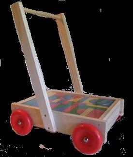 Wooden Walker Wagon with blocks - NZ Made