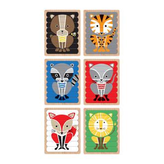 Wooden Geometric Animals Puzzle Sticks
