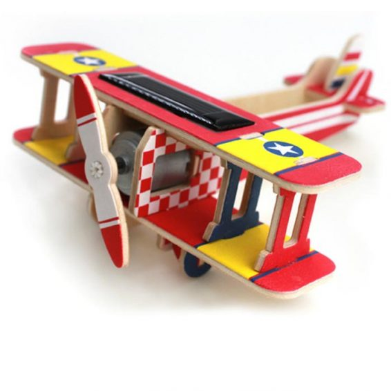 Solar Powered Biplane Wooden DIY 3D Puzzle