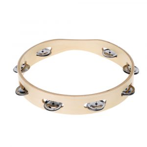 Natural Wooden Tambourine 25cm