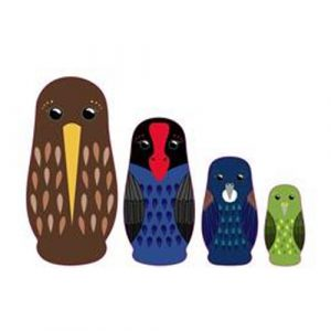 Wooden NZ Native Birds Nesting Dolls