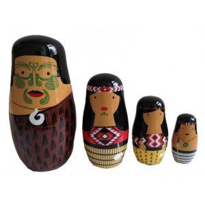 Wooden Maori Whanau Nesting Dolls