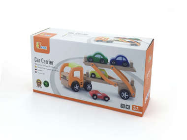 Wooden Car Carrier & 4 Cars boxed