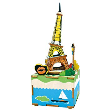 Romantic Eiffel Wooden 3D Music Box Puzzle