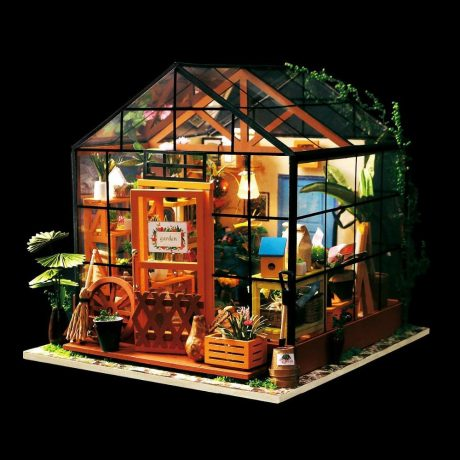 Cathys Flower House Wooden DIY House – lights on at night