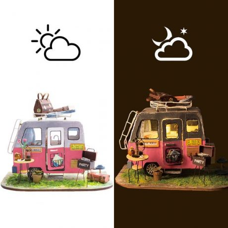 Happy Camper Wooden DIY Puzzle – lighting effects