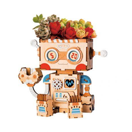 robot wooden DIY Flower Pot