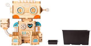 robot wooden DIY Flower Pot a