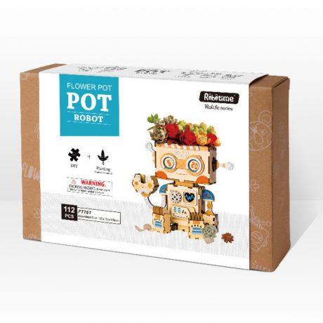 robot wooden DIY Flower Pot boxed