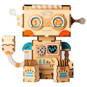 robot wooden diy flower pot