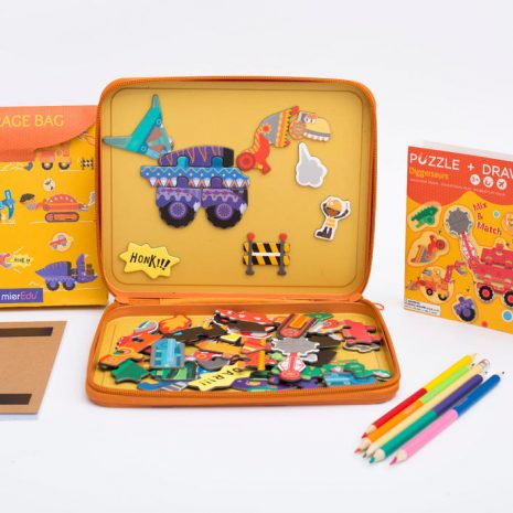 Diggersaurs Puzzle and Draw Magnetic Kit - inside