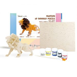 Wooden Lion 3D Painting Puzzle