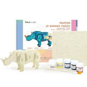 Wooden Rhino Painting 3D Puzzl;e