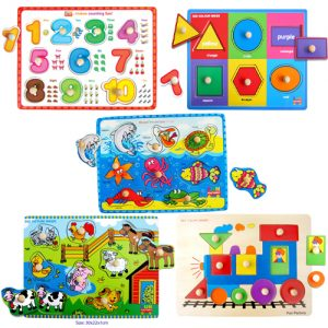 Wooden Knob Puzzle Bundle 5 Pack