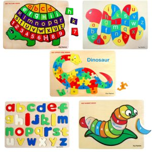 Wooden Raised Pieces Puzzle Bundle 5 Pack