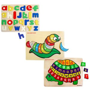 Wooden Raised Pieces Puzzle Bundle 3 pack