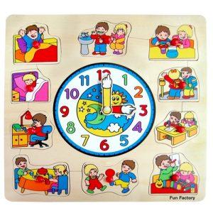 large wooden clock puzzle