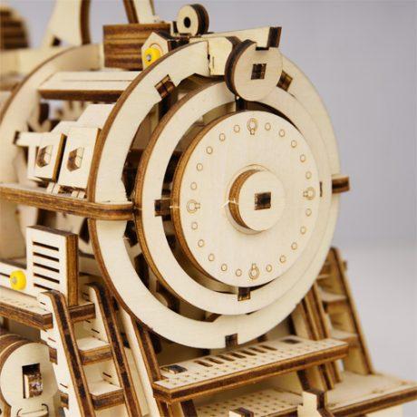 Wooden 3D Mechanical Locomotive a
