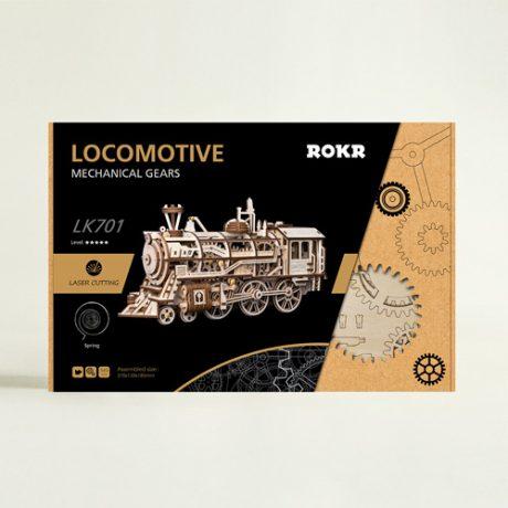 Wooden 3D Mechanical Locomotive boxed