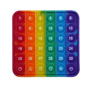 Rainbow Square Numbers Pop It Fidget Toy