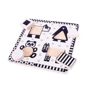 Wooden Black And White Animals Puzzle