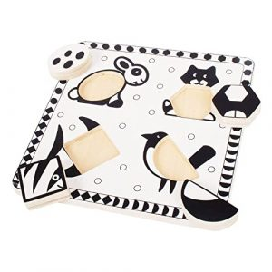Wooden Black And White Pets Puzzle