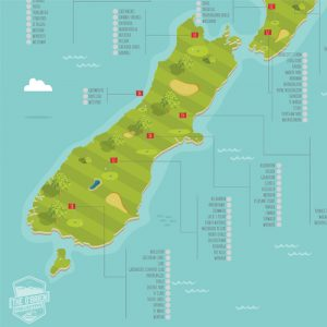 New Zealand Golf Course Scratch Map South Island