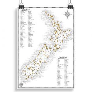 New Zealand Classic Scratch Map