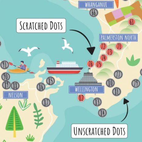 New Zealand Original Scratch Map dots