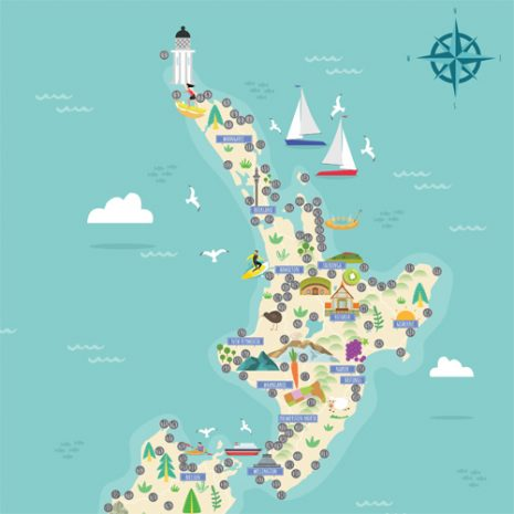 New Zealand Original Scratch Map north island