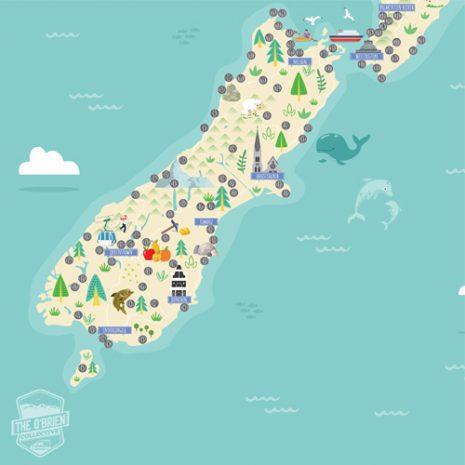 New Zealand Original Scratch Map south island