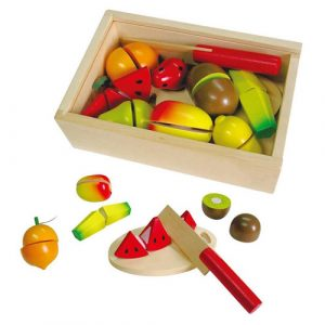 Wooden Cut and Peel 18pc Fruit Crate
