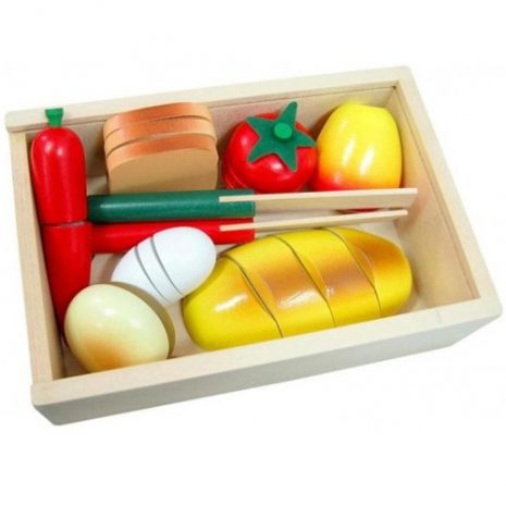 Wooden Cut and Peel 20pc Picnic Food Crate