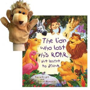 The lion who lost his roar book and puppet combo