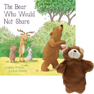 the bear who would not share book and puppet combo