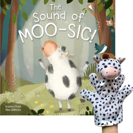 the sound of moo-sic book and puppet combo